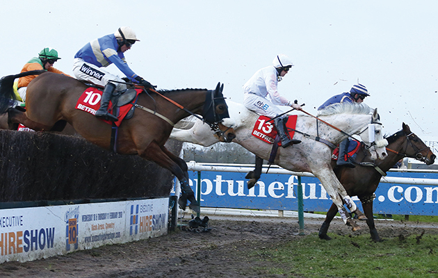 """Russe Blanc and Charlie Poste (no 13) winning The Betfred Classic Chase  Warwick 16.1.16 Pic Dan Abraham-racingfotos.com  THIS IMAGE IS SOURCED FROM AND MUST BE BYLINED """"RACINGFOTOS.COM"""""""