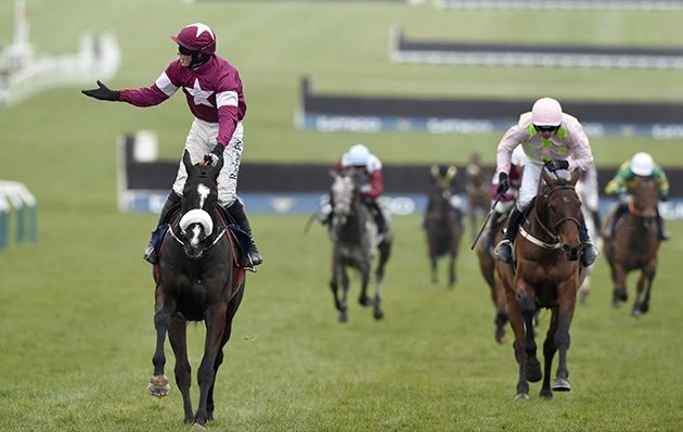Don Cosack (left) wins the Cheltenham Gold Cup 2016 from Djakadam (right) 18-3-16