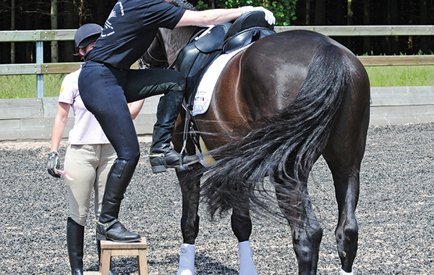 Mounting a horse correctly with block