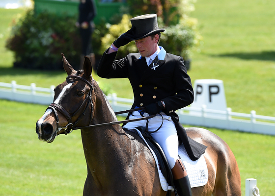 Simon Grieve riding Cornacrew GBR during the Dressage Phase of The Mitsubishi Motors Badminton Horse Trials at Badminton in Gloucestershire, UK on 5th May 2016
