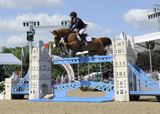 Kent Farrington riding Creedance USA, winner of CSI4* Grand Prix for The Kingdom of Bahrain Trophy during Saturday of the Royal Windsor Horse Show, in the grounds of Windsor Castle in Windsor in the county of Berkshire, UK on 15th May 2016