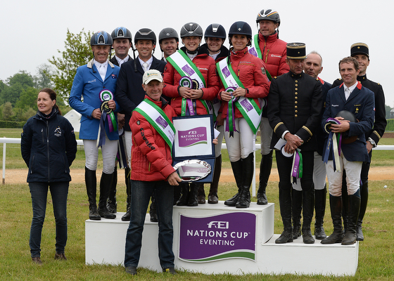 1st Germany (Josefa Sommer (GER) riding HAMILTON 24, Peter Thomsen (GER) riding HORSEWARE'S BARNY, Josephine Schnaufer (GER) riding SAMBUCCA 10 and Bettina Hoy (GER) riding SEIGNEUR MEDICOTT) 2nd Australia (Sam Griffiths (AUS) riding BEAUREPAIRE NEMO, Andrew Hoy (AUS) riding RUTHERGLEN, Kevin McNab (AUS) riding WONHAM WHAT NEXT and Tim Boland (AUS) riding GV BILLY ELLIOT) 3rd France (Denis Mesples (FRA) riding OREGON DE LA VIGNE, Geoffroy Soullez (FRA) riding MADIRAN DU LIOT, Didier Dhennin (FRA) riding TROUBADOUR CAMPHOUX and Landeghem Matthieu Van (FRA) riding TROUBLE FETE ENE HN) during the Nations Cup during The Houghton International Horse Trials at Houghton Hall near Kings Lynn in Norfolk, UK between 26th - 29th May 2016