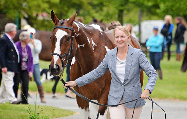 Philippa Humphreys with Rich N Famous at the first trot-up at the Jersey Fresh International Horse Trials