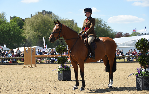 Sophie Lawes riding Carnsdale Vanity Fair, Champion in The Working Hunter Pony Championship during Wednesday of the Royal Windsor Show, in the grounds of Windsor Castle in Windsor in the county of Berkshire, UK  on 15th May 2016