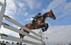 Kitty King riding CEYLOR L A N, during the Showjumping phase of The Blenheim Palace International Horse Trials near Woodstock in Oxfordshire, UK, on 20th September 2015