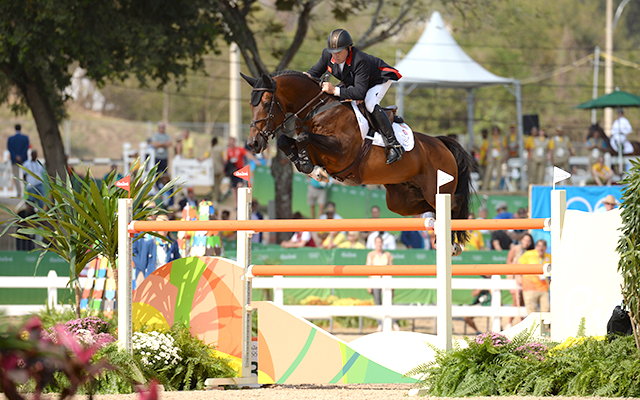 Nick Skelton GBR riding Big Star winner of the Gold medal as Individual Champion in the Show Jumping Competition at the Olympic Equestrian Centre in Deodoro near Rio, Brazil on 19th August 2016