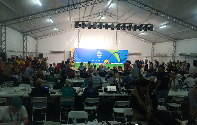 Rio 2016 communications director Mario Andrada holds a security press conference in Deodoro