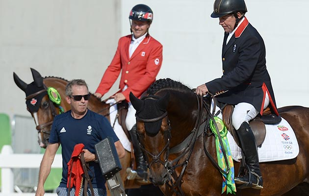 Groom Mark Beever and Nick Skelton GBR riding Big Star in the Individual Final of the Show Jumping Competition at the Olympic Equestrian Centre in Deodoro near Rio, Brazil on 19th August 2016