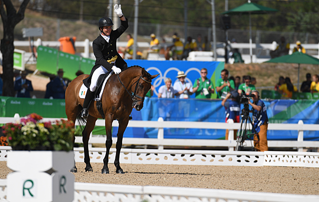 Ireland's Padraig McCarthy completes his dressage test on Simon Porloe at the Rio Olympics