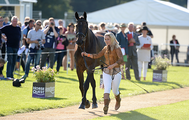 Stacey L Shimmons riding ORIONS PROMISE during the 1st Vet Check at The Land Rover Burghley Horse Trials near Stamford in Lincolnshire UK on 31st August 2016