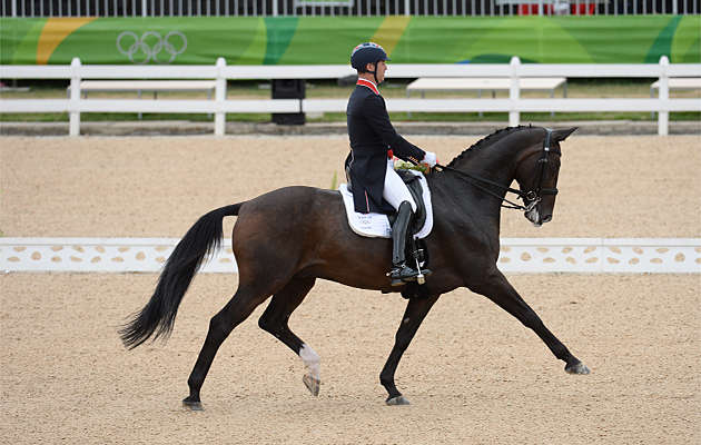 Spencer Wilton (GBR) riding Super Nova II during the grand prix at the Rio Olympics