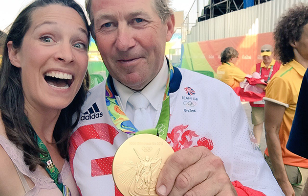 A 'Skelfie' - H&H's Alice Collins and Nick Skelton with his gold medal at Rio 2016