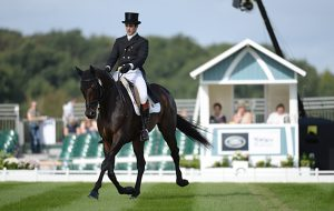 Ben Way riding GALLEY LIGHT during the dressage phase of The Land Rover Burghley Horse Trials near Stamford in Lincolnshire UK on 1st September 2016