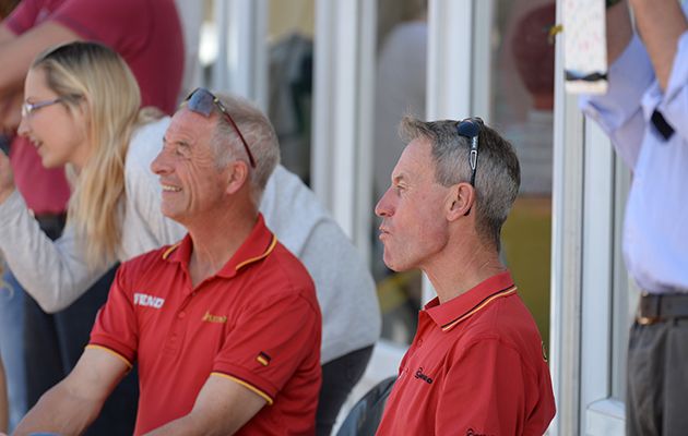 Christopher Bartle and Hans Melzer watching the dressage phase of the Les Etoiles de Pau, in Pau France between 23th -26th October 2014