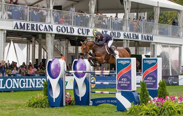 Kent Farrington and Gazelle win the World Cup qualifier at Old Salem Farm in September 2016. Picture by FEI/Anthony Trollop