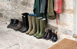 Exterior, coat hooks / rack, wellington boots, back / front door, open ajar CH&I 02/2013