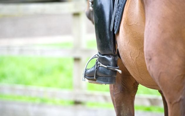 close up of long riding boot in stirrup with spur