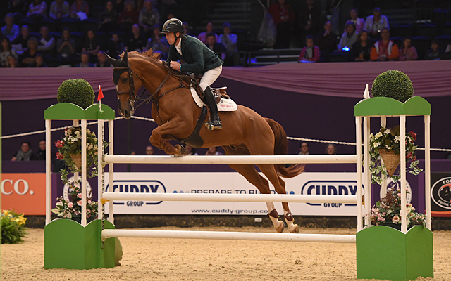 Shane Breen riding Accoustik Solo Du Baloubet, winners of Class 21 during HOYS in the NEC in Warwickshire in the UK on 9th October 2016