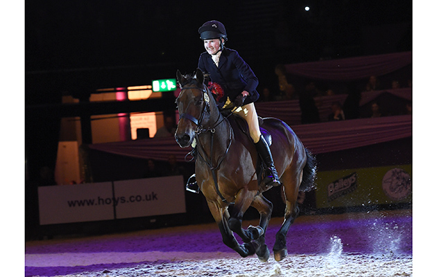 Lucy Eddis riding CASHEL BAY JJ owned by Polly Eddis, Champion in the M&M Working Hunter Pony of the Year Championships during HOYS in the NEC in Warwickshire in the UK on 6th October 2016