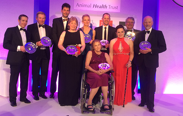AHT award winners 2016 (left to right): Jim Crowley, Nick Skelton, James and Rachel Francis (Wilberry Wonder Pony), Hannah Edwards, Anne Dunham (British Paralympic dressage team), Spencer Wilton (British Olympic dressage team), Natasha Baker (British Paralympic dressage team), John McEwen and Pete Brady