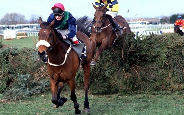 "Grand National 1996. Rough Quest leads at the last fence and goes on to win. Photo Trevor Jones / Racingfotos.com  THIS IMAGE IS SOURCED FROM AND MUST BE BYLINED ""RACINGFOTOS.COM"""