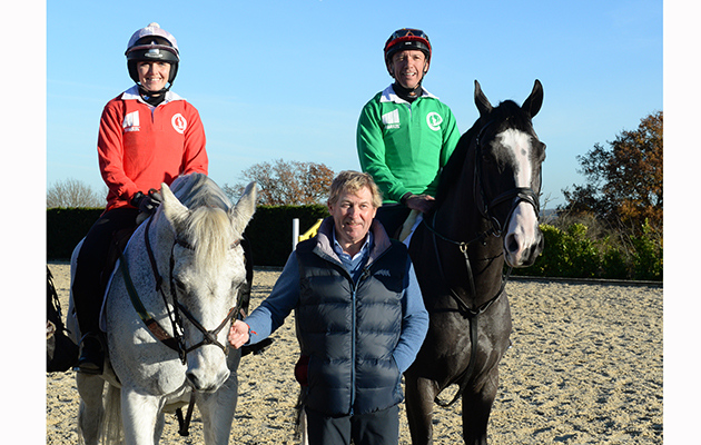 Frankie Dettori and Victoria Pendleton with Nick Skelton during a Showjumping training session at Nick Skelton's stables at Arden Cote Farm in the village of Shelfield near Ancestor in Warwickshire in UK on 28th November 2016