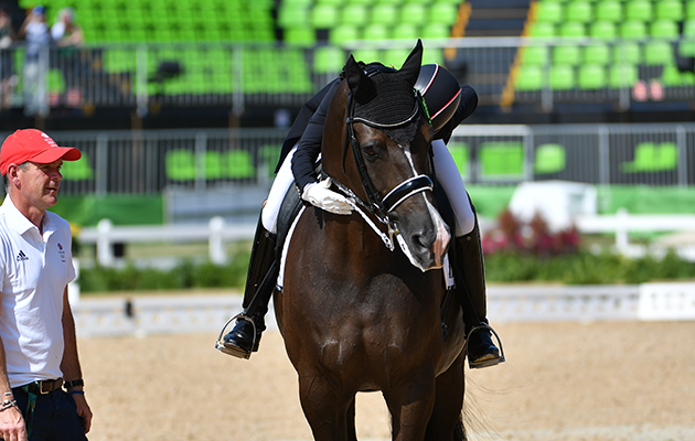 Charlotte Dujardin GBR winner of the gold medal during the Grand Prix Freestyle for the individual Dressage competition at the Olympic Equestrian Centre in Deodoro near Rio, Brazil on 15th August 2016 kisses kiss valegro