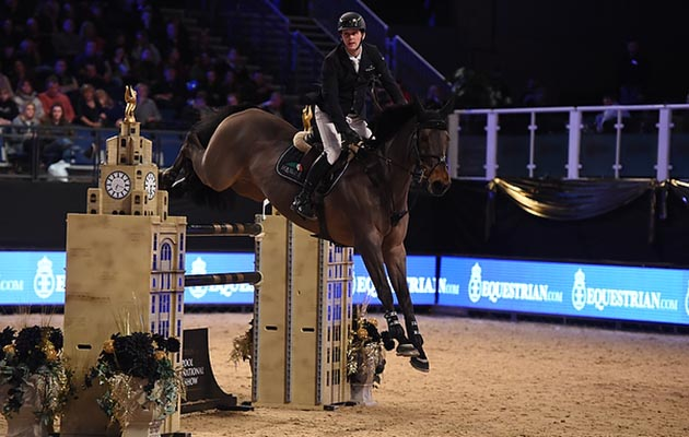 Billy Twomey riding Diaghilev winner of Class 20 Equestrian.com Grand Prix at the Equestrian.com Liverpool International Horse Show at Echo Arena, Liverpool, UK; on 2nd January 2017