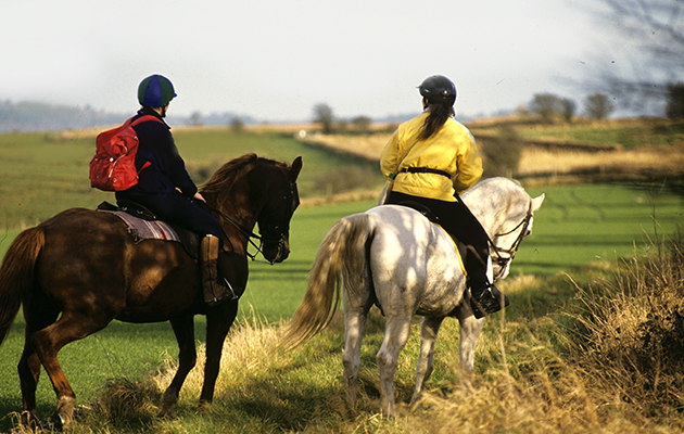 people on a hack , hacking fields in background