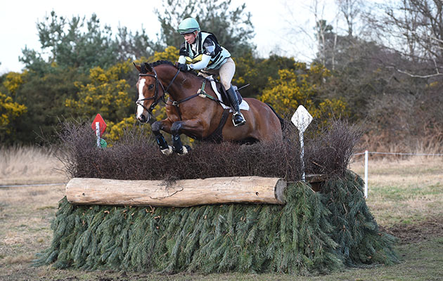 Coral Keen riding HIGHMEAD PROPOSITION in Section G Int at Tweseldown (1) at Tweseldown Racecourse near Fleet in Hampshire UK on 9th March 2017