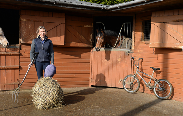 The multi-tasking Katy Marriott-Payne at her stables in a small Northampton Village in the UK on the 13th February 2017