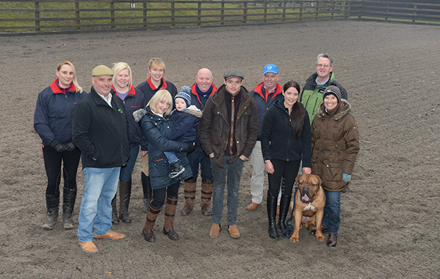Team Wood from left: Dawn Morris, Martin Wood, Abby Spencer, Kelly Thackwroy, Sandra Wood with Freddie, Nigel Hollings, Tommy Wood, Jack Cochrane, Michaela Wood with Bentley, Mike Holmes, Bridget Millington