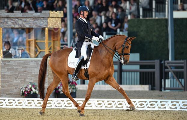 Carl Hester rides Barolo at the 2017 Royal Windsor Horse Show