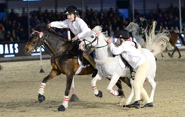 Members of Team England, winners of The DAKS Pony Club Games at the Royal Windsor Horse Show in the private grounds of Windsor Castle in Windsor in Berkshire in the UK between 10th-14th May 2017