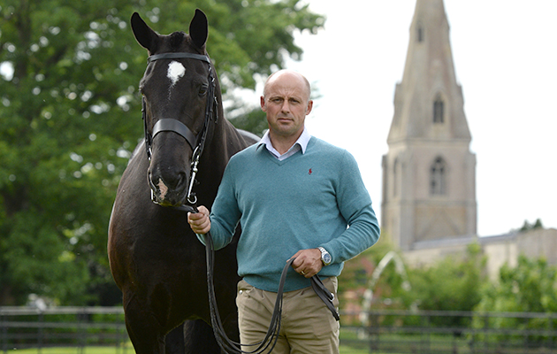 Simon Reynolds with MORROWS MARKSMAN (Stable name; Bentley), at Simon and Natalie's new stable, Walnut House, in the village of Threekingham near Seaford in the county of Lincolnshire in the UK between 10th-14th May 2017