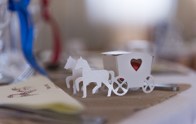 Guests were treated to these beautifully created horse and carriage wedding favours