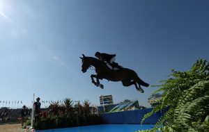 RIO DE JANEIRO, BRAZIL - AUGUST 14: Nick Skelton of Great Britain riding Big Star competes during the Jumping Individual and Team Qualifier on Day 9 of the Rio 2016 Olympic Games at the Olympic Equestrian Centre on August 14, 2016 in Rio de Janeiro, Brazil. (Photo by Christian Petersen/Getty Images)