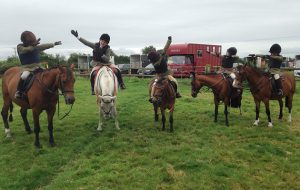 The boys' ride at the South and West Wilts Pony Club mini camp including Reuben Cawley, Henry Phillips, Ollie Gillman, Jonty and Harry McCarter give a masterclass in dabbing