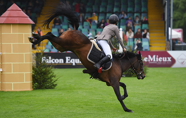 BUTTONS TWO, ridden by Shaunie Greig in The Winter 138cms Championship during The Longines Royal International Horse Show (CSIO 5*) held at The All England Jumping Course at Hickstead in West Sussex in the UK between 25 - 30th July 2017