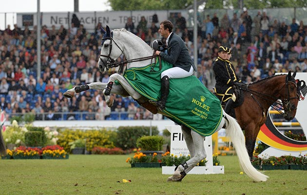 Gregory WATHELET riding Coree BEL competing in the Rolex Grand Prix Showjumping competition during the World Equestrian Festival CHIO in Aachen in Germany between 20 - 23th July 2017