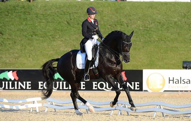 Laura TOMLINSON riding DUVALS CAPRI SONNE JR; 2nd in the Dressage Competition at Bolesworth CSI **** International, at Bolesworth Castle, Tattenhall, near Chester on the 18th June 2015