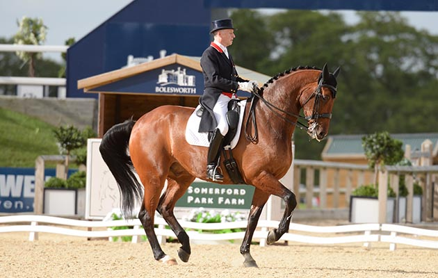 Richard Davison riding BUBBLINGH during the CDI 3* Dressage Grand Prix Freestyle during the Bolesworth International Horse Show near Chester in Cheshire in the UK on 14th May 2017