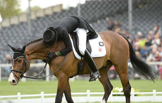 Jonty Evans (IRL) riding Cooley Rorkes Drift, during the dressage phase of the Badminton Horse Trials at Badminton House in the Village of Badminton in South Gloucestershire in the UK on the 3rd May 2017