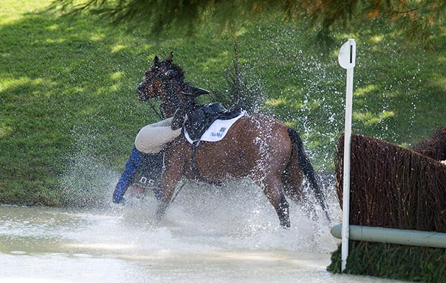 Mandatory Credit: Photo by Charles Cunningham/REX/Shutterstock (9038968e) Zara Tindall falling off High Kingdom The Land Rover Burghley Horse Trials, Stamford, UK - 02 Sep 2017 The accident took place at fence 23, the Land Rover Trout Hatchery.Zara became unseated as her horse landed after the water jump but she appeared to have escaped unscathed and walked up the bank to be greeted by one of the event doctors.