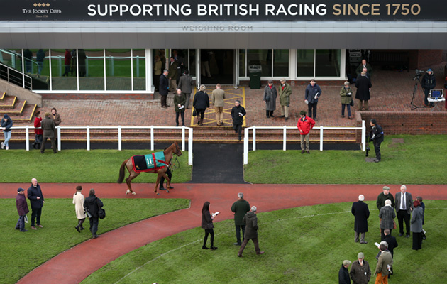 A view of the weighing room and parade ring at Cheltenham Racecourse