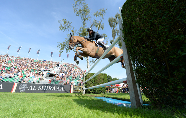 William FUNNELL riding BILLY BUCKINGHAM in The Al Shira'AA Derby in the International jumping competition during The Al Shira'AA Hickstead Derby Meeting at the All England Jumping Course at Hickstead near Haywards Heath in West Sussex in the UK on 24th June 2018