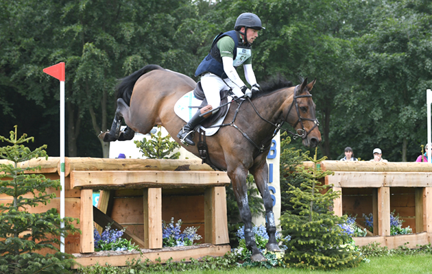 Simon Grieve riding DOUGLAS during the cross country phase of the Equi-Trek CCI*** at the Bramham International Horse Trials on the Bramham Estate near Weatherby in North Yorkshire in the UK on 9th June 2018
