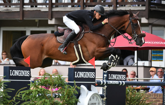 Kevin Jochems riding CAPTAIN COOPER winner of The Longines BHS King George V Gold Cup during The Longines FEI Jumping Nations Cup™ of Great Britain at the BHS Royal International Horse Show 2018