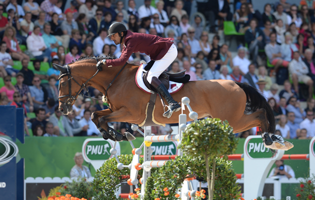 Shaikh Ali bin Khalid AL THANI riding Vienna Olympic QAT in the Second Round of the Team Show Jumping Competition at WEG in Stadium D'Ornano Caen, Normandy in France between 23 August to 7 September 2014