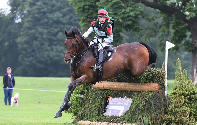 David Britnell riding CONTINUITY during the cross country phase of the Equi-Trek CCI*** at the Bramham International Horse Trials on the Bramham Estate near Weatherby in North Yorkshire in the UK on 9th June 2018